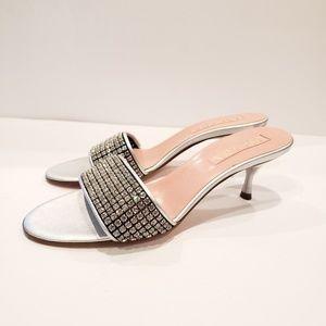 Escada silver rhinestones sandals heel 37.5